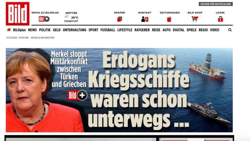 Bild: Η Μέρκελ σταμάτησε στο παρά 5′ πόλεμο Ελλάδας – Τουρκίας