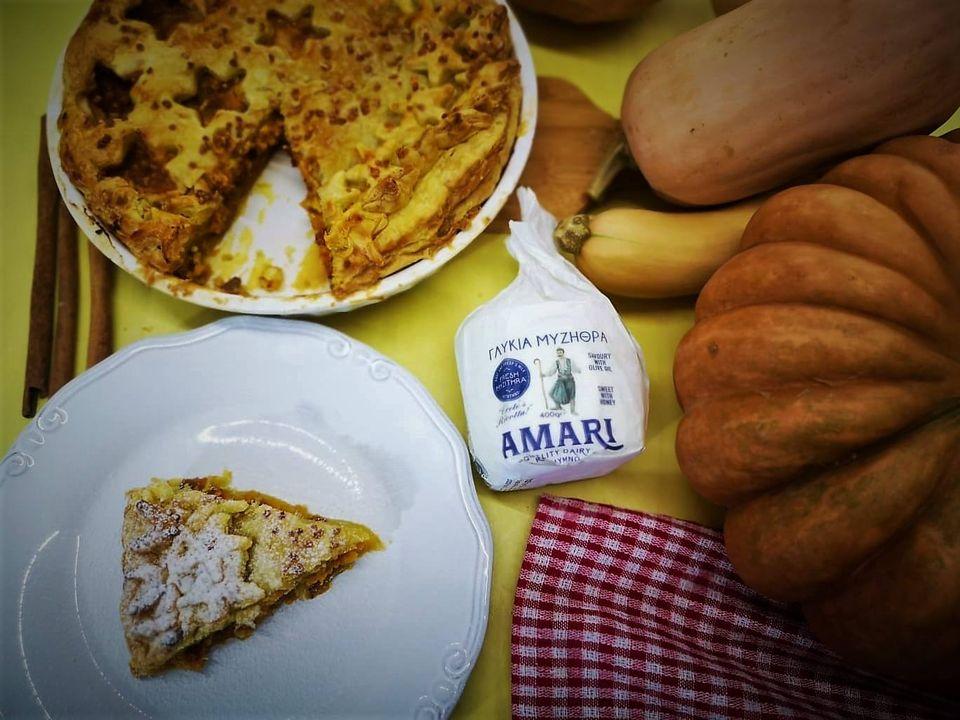 Κολοκυθόπιτα γλυκιά με σπιτική σφολιάτα και φρέσκια μυζήθρα Αμάρι
