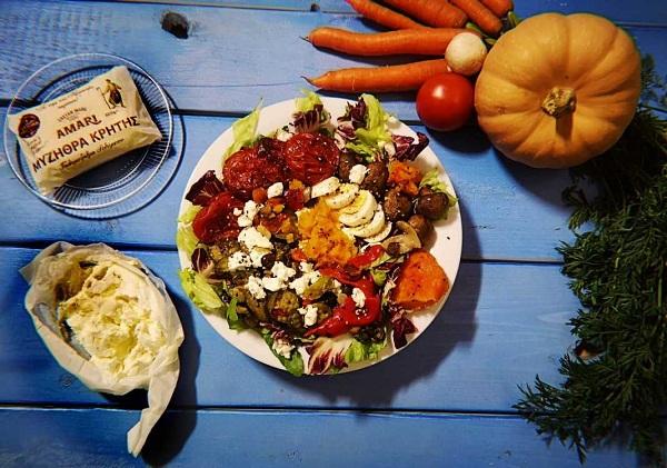 Σαλάτα ψητών λαχανικών με μυζήθρα Αμάρι