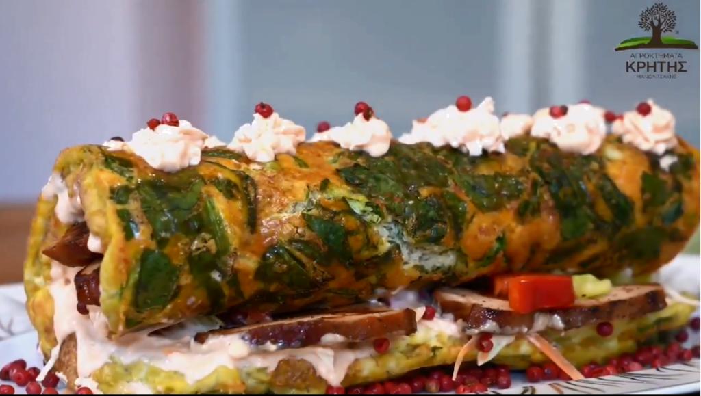 Εορταστικό ρολό με αυγά & απάκι κοτόπουλο από τα Αγροκτήματα Κρήτης Μανωλιτσάκης και την Εύα Παρακεντάκη