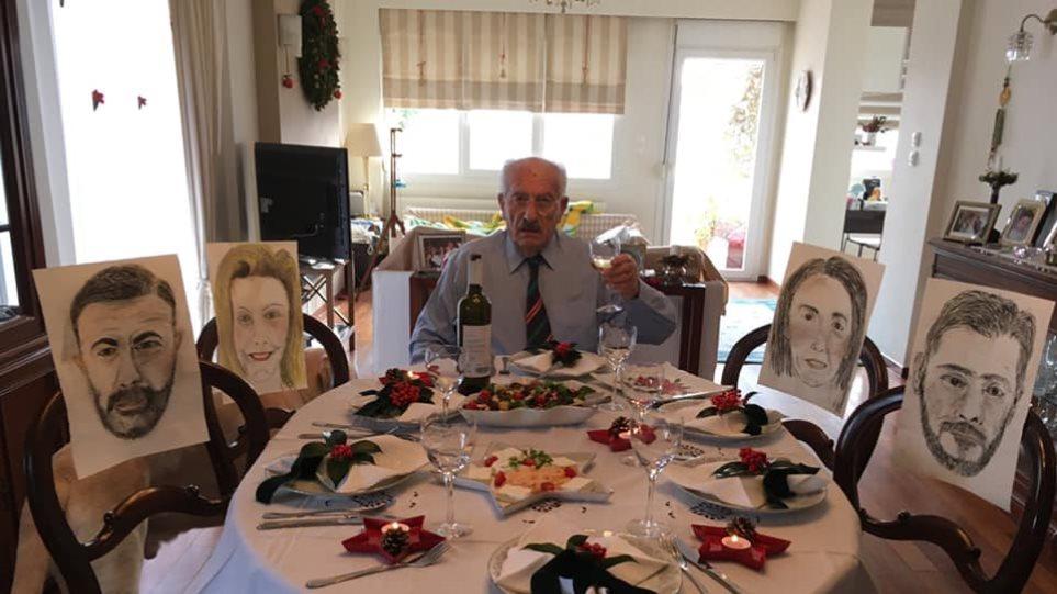 Συγκινητικό: Ο κύριος Δημήτρης ζωγράφισε τα παιδιά του σε ακουαρέλα για το τραπέζι των Χριστουγέννων