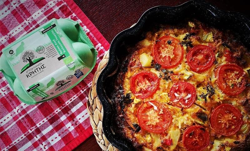 Ομελέτα φούρνου με βιολογικά αυγά από τα Αγροκτήματα Κρήτης και την Εύα Παρακεντάκη